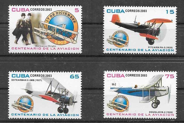 Colección sellos transporte aéreo Cuba 2003
