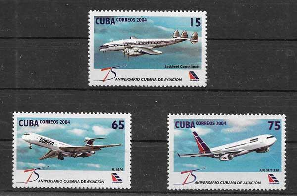 Sellos Filatelia aviones cubanos en vuelo 2004