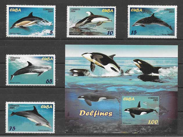 Filatelia sellos fauna marina Cuba 2004