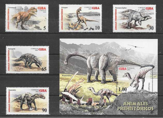 Filatelia sellos fauna prehistórica Cuba 2005