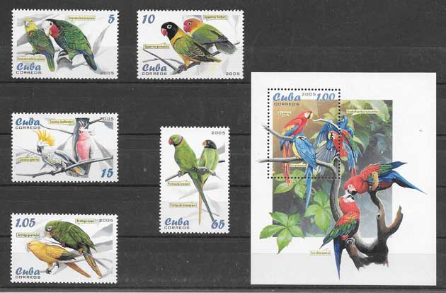 Sellos filatelia fauna aves diversas Cuba 2005