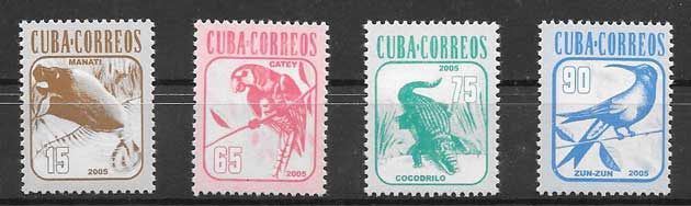 Sellos Filatelia fauna cubana 2005