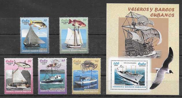 Sellos Filatelia transporte marítimo cubano