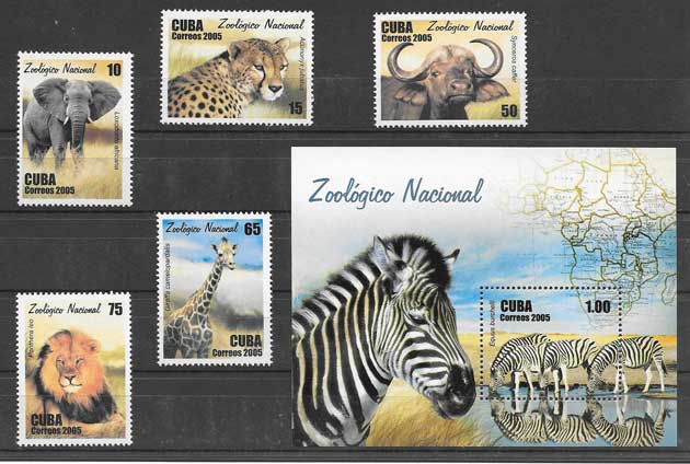 Filatelia sellos fauna del Zoo de la Habana