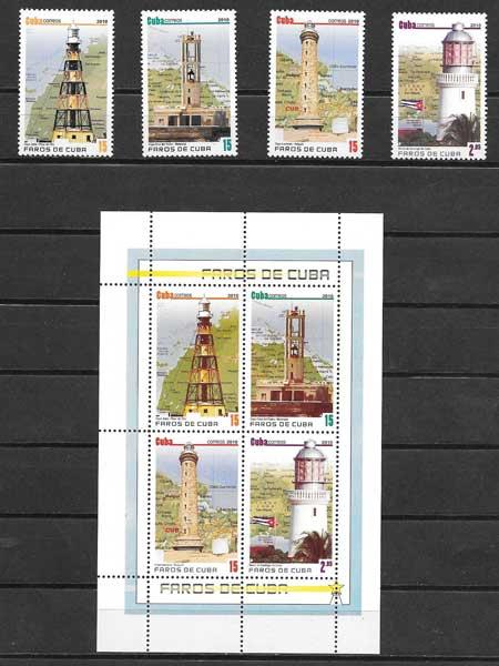 Colección sellos faros de Cuba