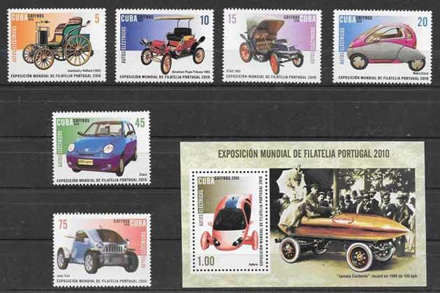 Sellos Filatelia transportes - coches electricos