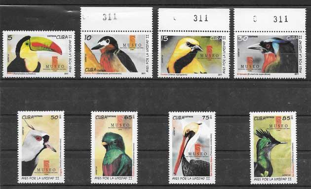 Colección sellos fauna - aves diversas de Cuba