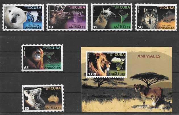 Sellos Filatelia fauna salvaje mundial