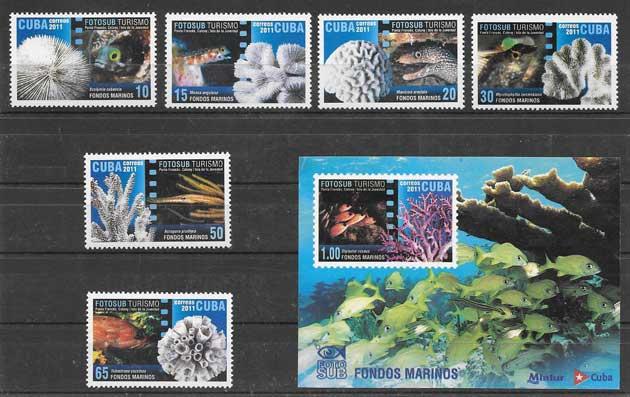 Sellos Filatelia fauna marina cubana 2011