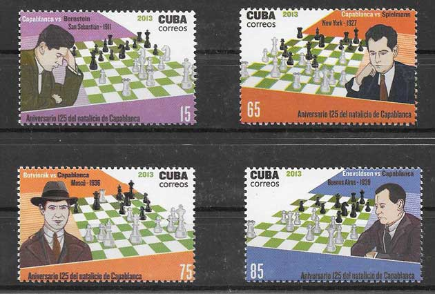 Sellos Filatelia Capablanca ajedrecista cubano