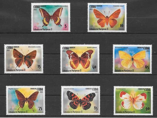 Colección de sellos mariposas cubanas
