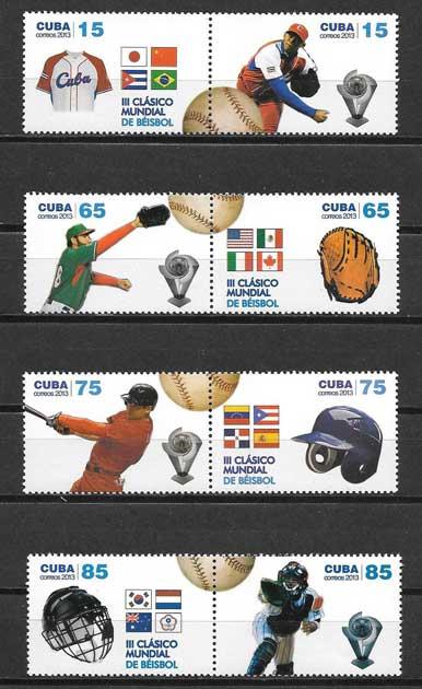 Sellos Beisbol deporte nacional de Cuba