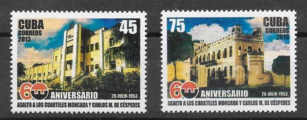 Colección sellos fortalezas militares cubanas