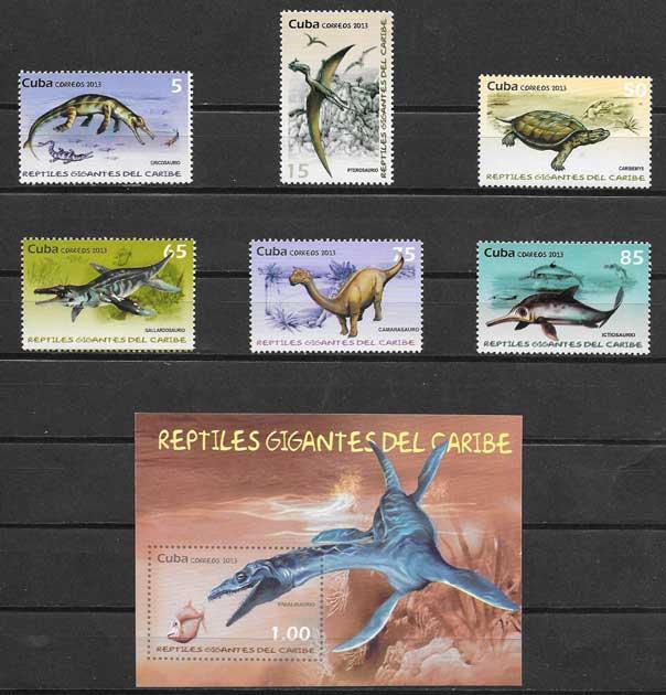 Sellos fauna animales prehistóricos Cuba