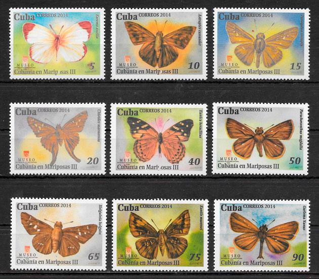 sellos mariposa Cuba 2014