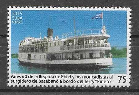 sellos colección transporte Cuba 2015