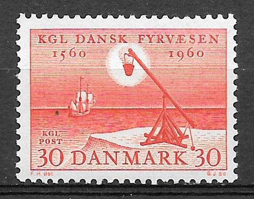 colección sellos faros Dinamarca 1960