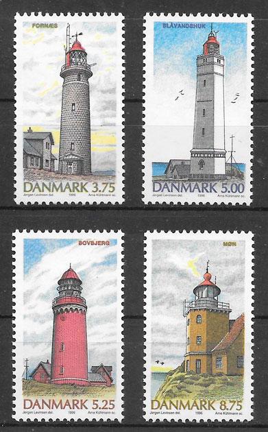 sellos faros Dinamarca 1996