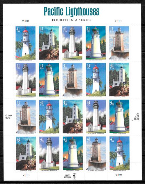 sellos faros 2007 USA 2007
