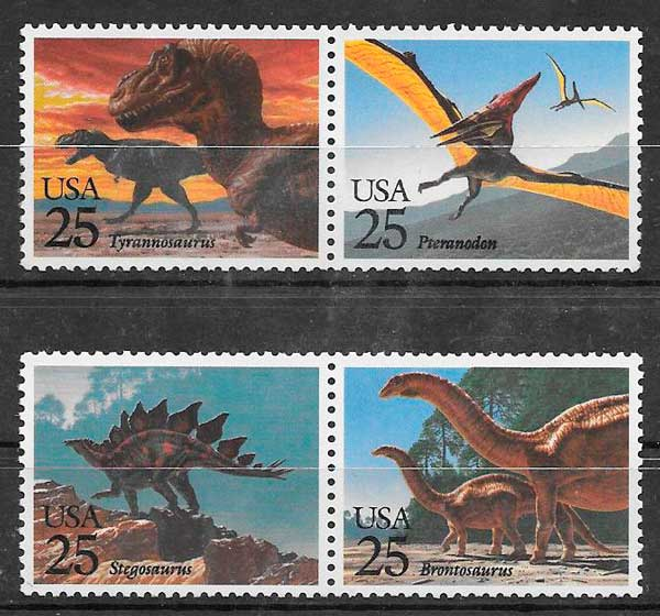 colección sellos dinosaurios USA 1989