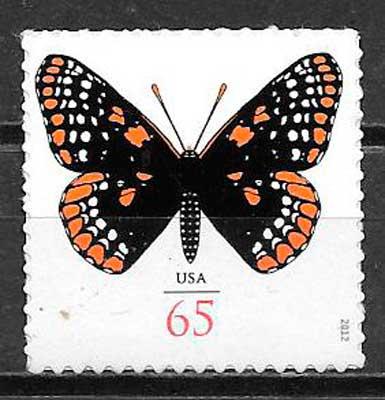 colección sellos mariposas EE:UU 2012