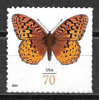 filatelia colección mariposas USA 2014