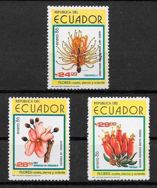 filatelia flora Ecuador 1986