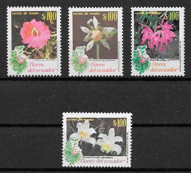 colección sellos flora Ecuador 1990