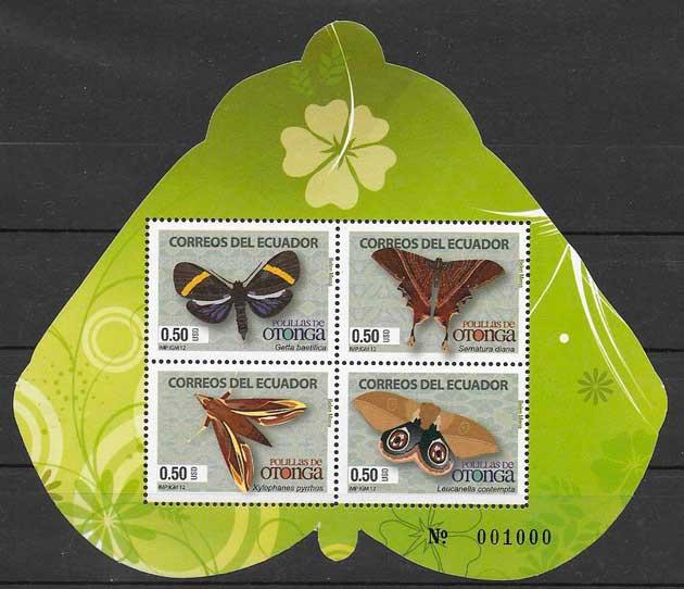 colección sellos mariposas Ecuador 2012