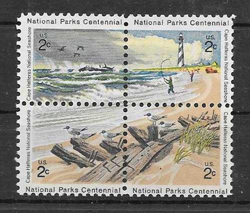 Colección sellos parques naturales de EE:UU
