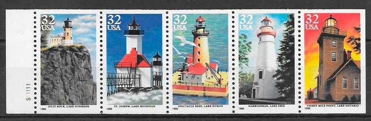 sellos faros USA 1995