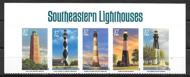 Colección sellos diversidad de faros de Estados Unidos