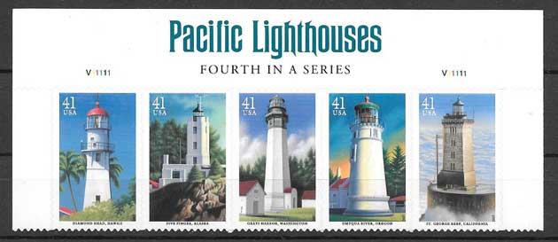 Colección sellos faros diversos de Estados Unidos