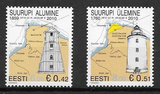 filatelia coleccion 2010 faros Estonia