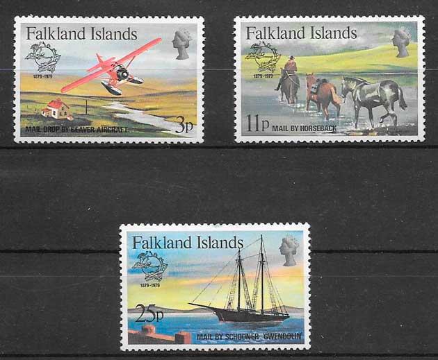 colección sellos transporte Falkland Island 1979