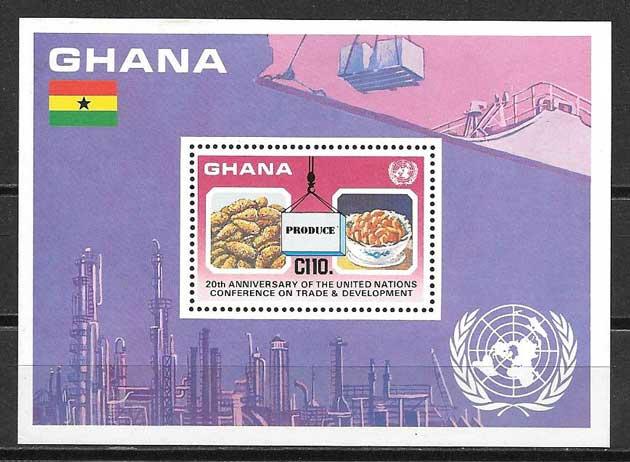 Colección sellos Ghana frutos
