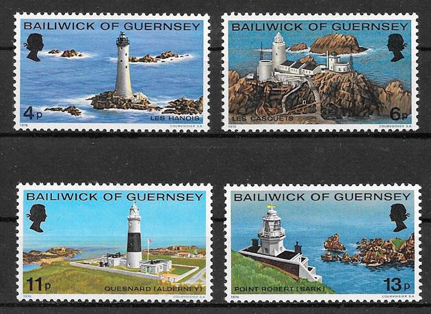 colección sellos faros Guernsey 1976