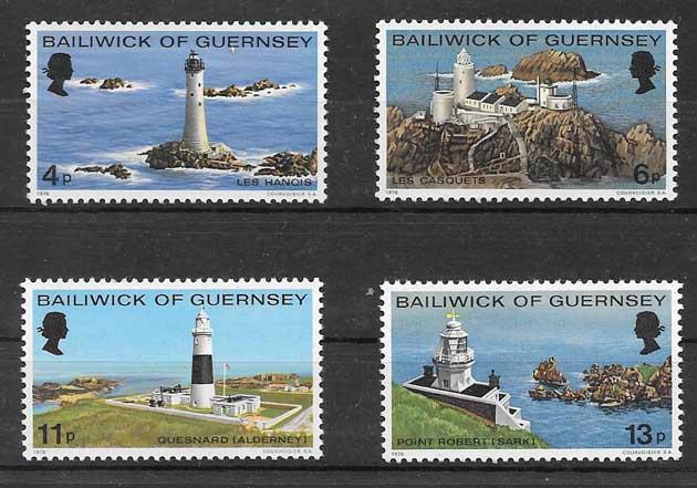 Colección sellos faros de la Isla de Guersey