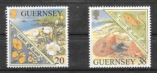 Sellos Filatelia fauna y flora Guernsey 1999