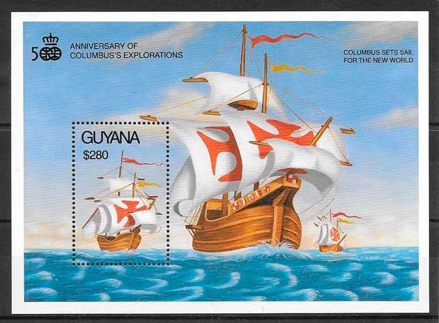 filatelia colección transporte Guyana 1992