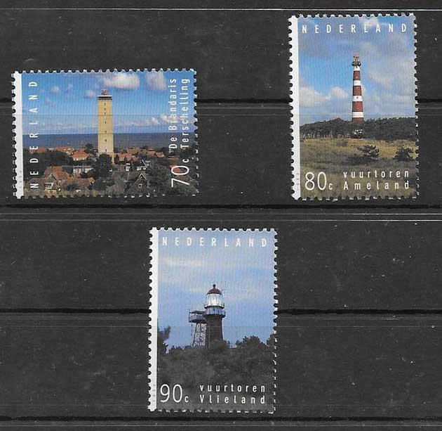 Estampillas faros e Holanda 1994