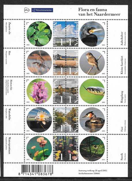 filatelia colección fauna y flora Holanda 2015