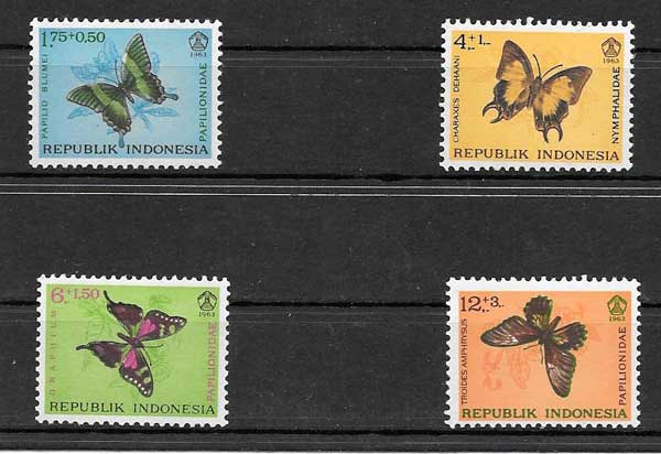 Sellos mariposas de Indonesia 1963