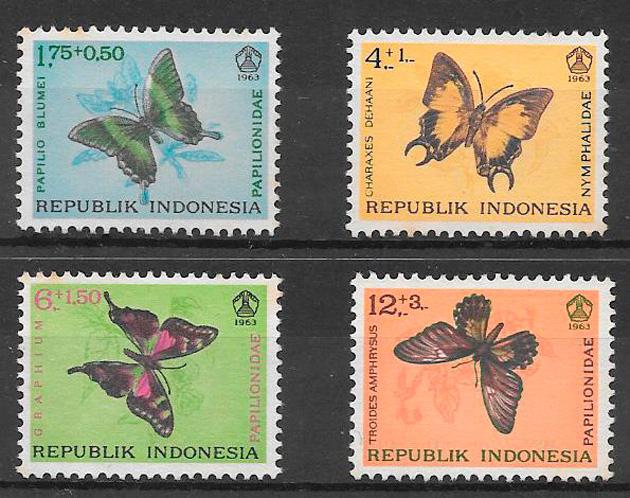sellos mariposas Indonesia 1963