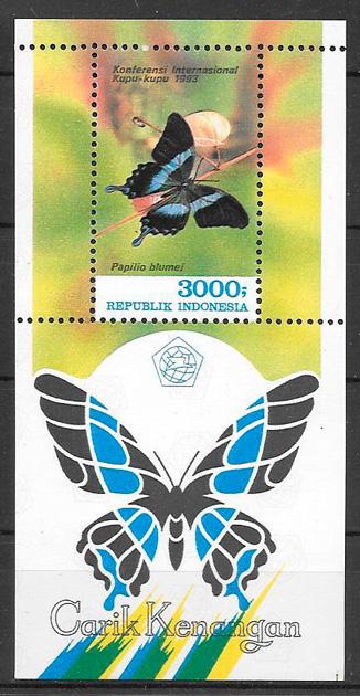 filatelia colección mariposas Indonesia 1993