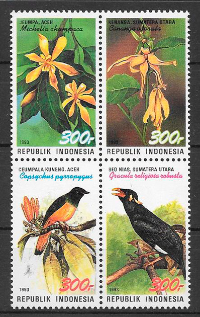 sellos fauna y flora Indonesia 1993