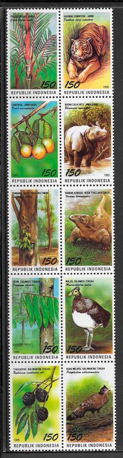 sellos fauna y flora de Indonesia 1995