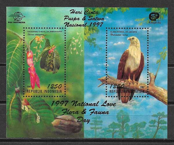 Estampillas fauna y flora Indonesia 1997