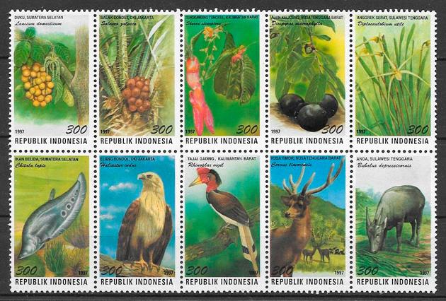 filatelia fauna y flora Indonesia 1997