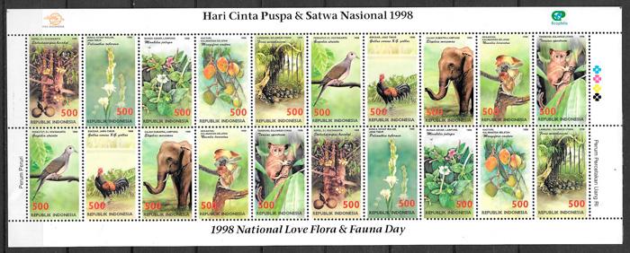 filatelia colección fauna y flora Indonesia 1998